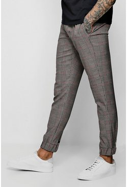 Mens Brown Heritage Check Smart Cuffed Jogger