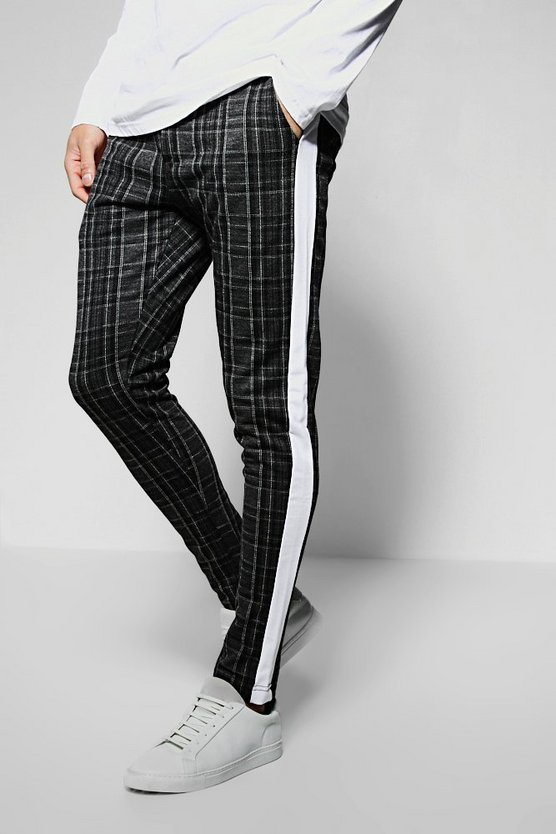Mono Check Tape Detail Smart Jogger