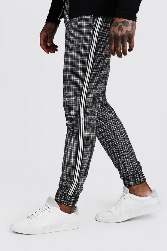Check Smart Cuffed Jogger Trouser With Tape