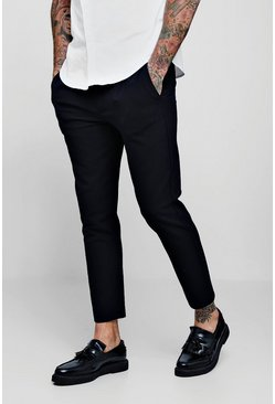 Navy Skinny Plain Smart Jogger Pants