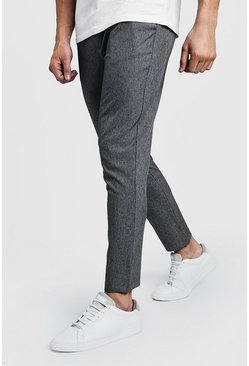 Grey Skinny Plain Smart Jogger Pants