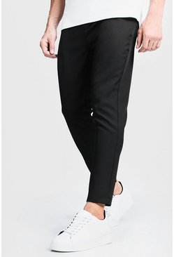Mens Black Plain Smart Cropped Jogger Trouser