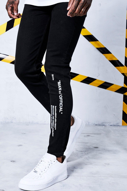 black Jeans Printed Certified Man Skinny CqXSI
