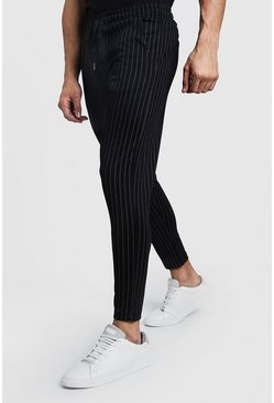 Mens Black Wide Pinstripe Tailored Jogger