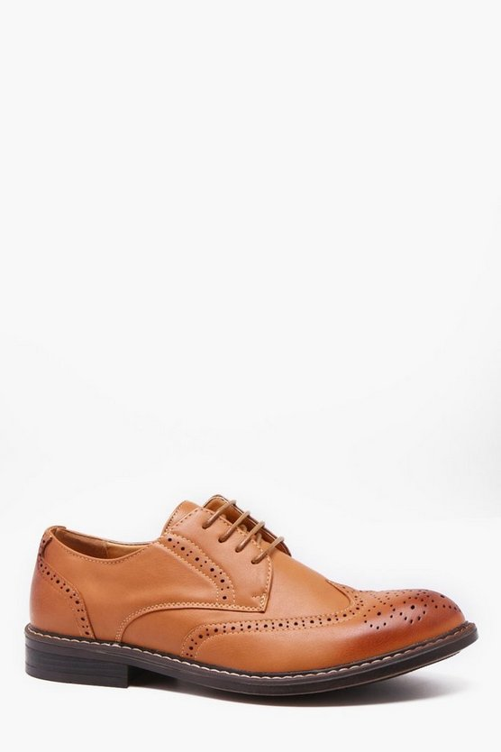 Mens Tan Cleated Gibson Brogues