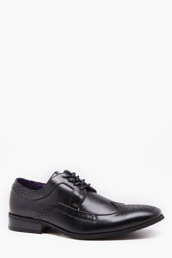 Mens Black Punch Detail Wing Cap Brogue
