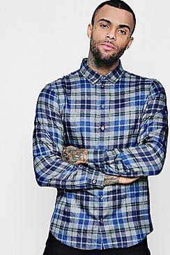 Blue And Grey Check Long Sleeve Shirt