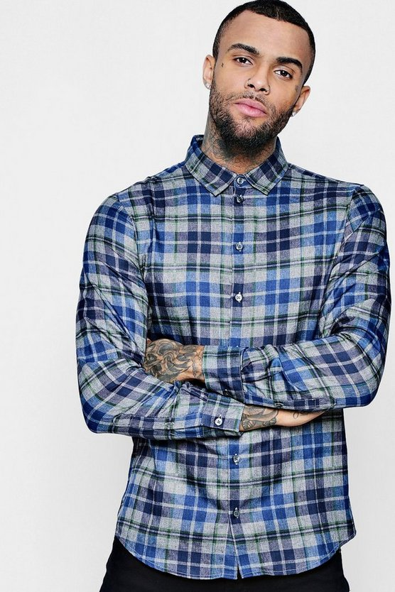 Blue And Grey Check Long Sleeve Shirt