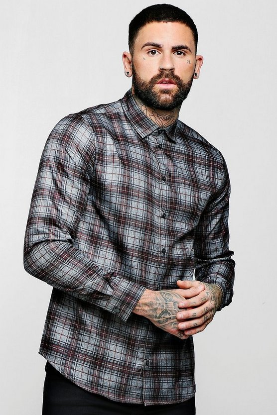 Red And Grey Check Long Sleeve Shirt