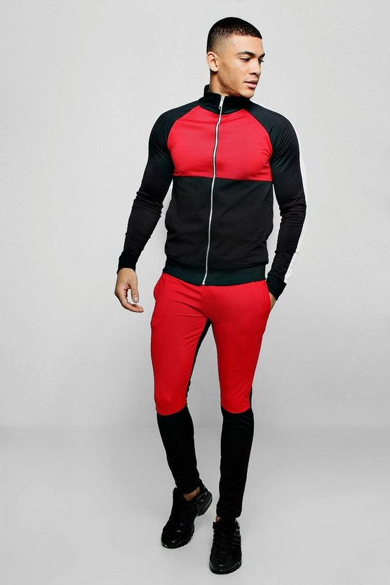 Funnel Neck Colour Block Tricot Tracksuit