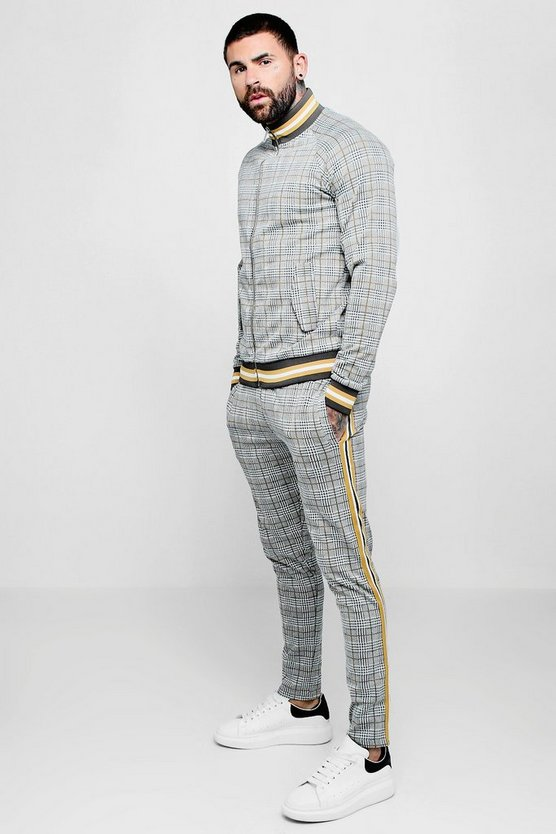 Funnel Neck Check Jacquard Tracksuit With Taping
