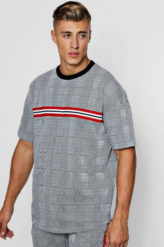 Oversized Check Jacquard T-Shirt With Taping