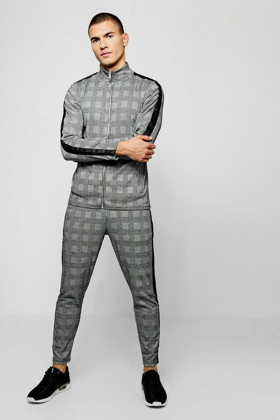 Mens Black Funnel Neck Check Jacquard Black Tape Tracksuit