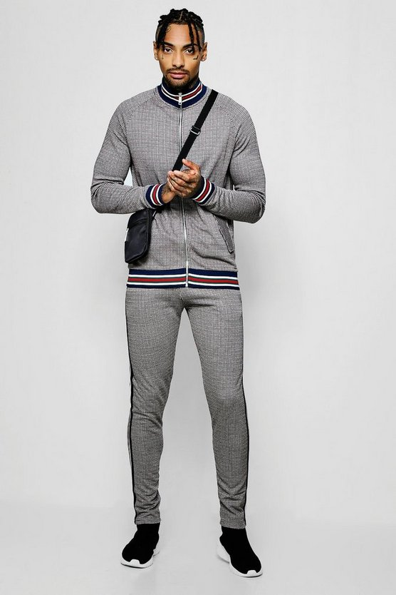 Mens Brown Dogtooth Jacquard Funnel Neck Tracksuit With Side Tape