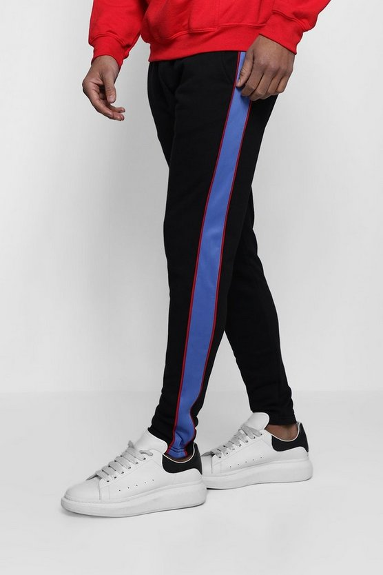 Skinny Jersey Jogger With Tricot Panel