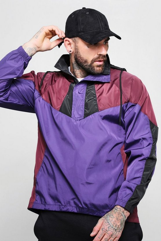 Mens Navy Colour Block Half Zip Cagoule