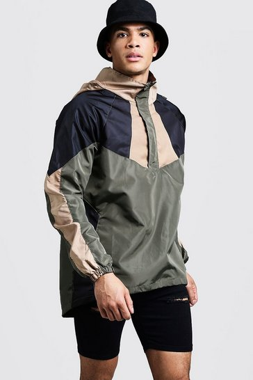 Mens Khaki Colour Block Half Zip Cagoule