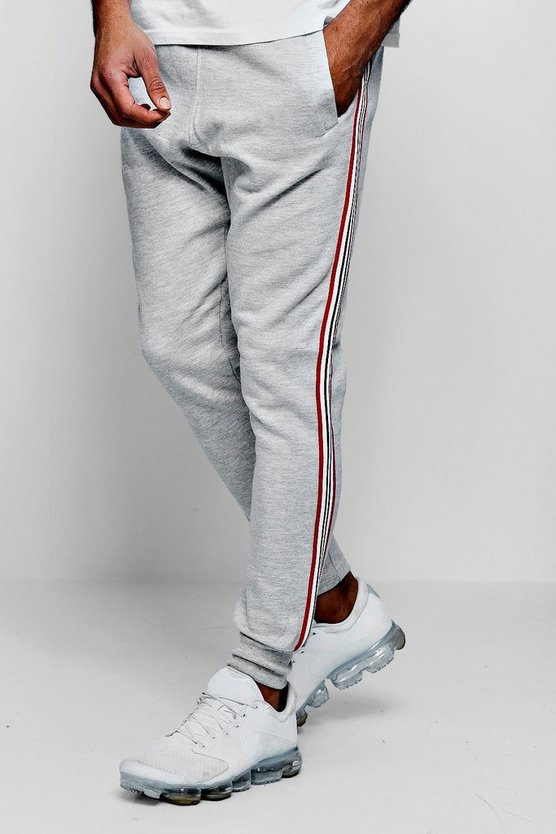 Skinny Joggers with Side Tape and Cuff Detail