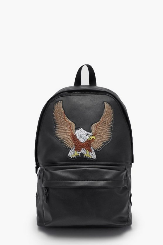Mens Black Eagle Applique Faux Leather Rucksack