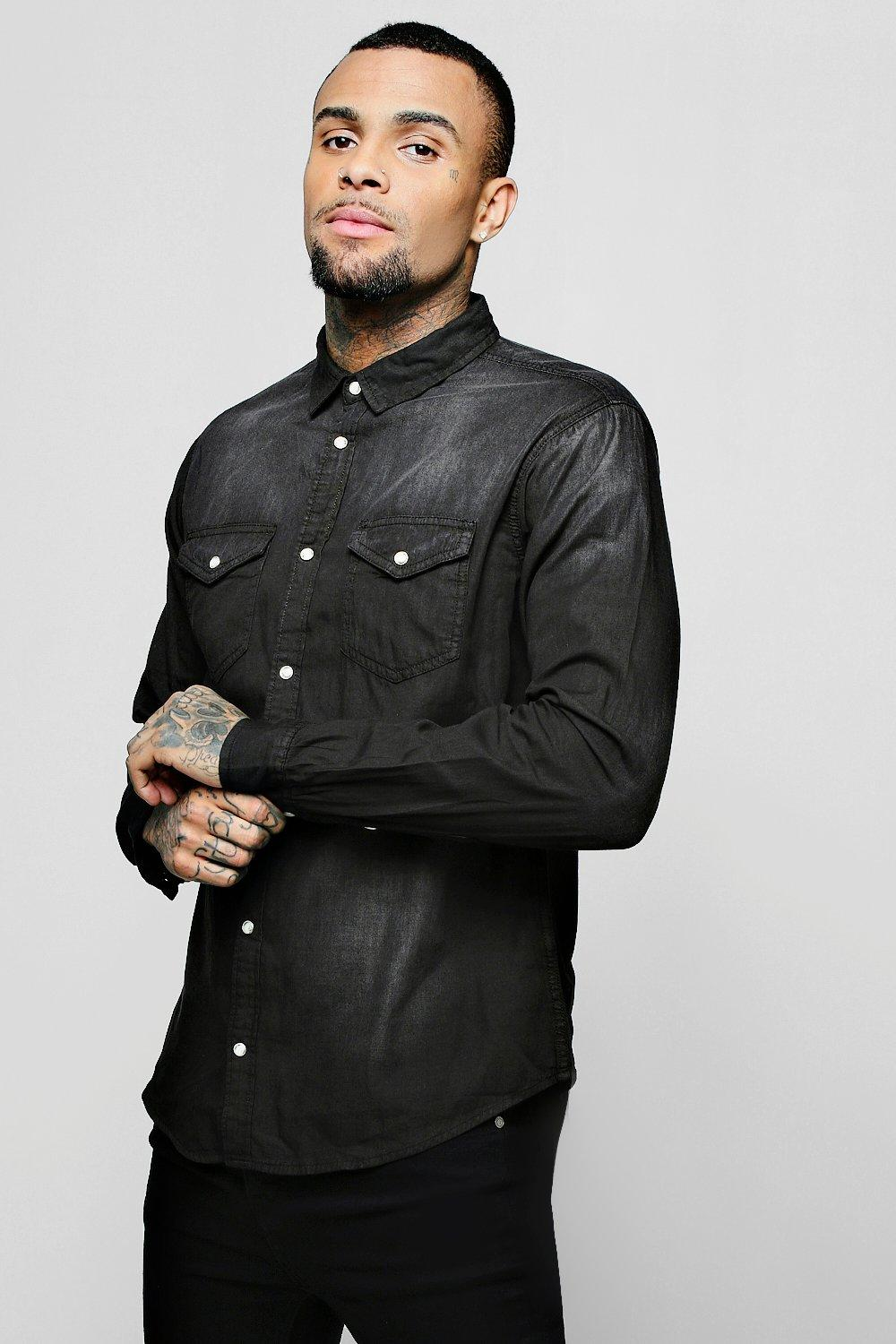 Washed Black Double Pocket Denim Shirt
