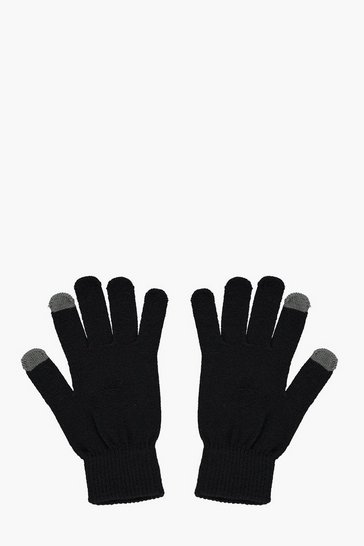 Mens Black Thermal Touch Screen Gloves