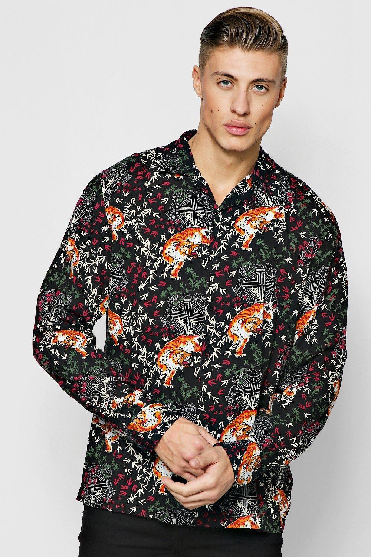 Tiger Print Long Sleeve Viscose Revere Shirt