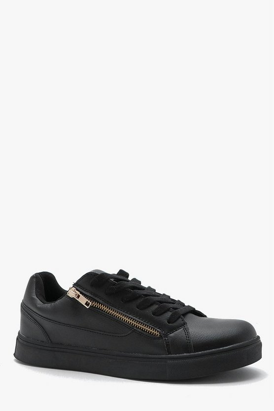 Mens Black Zip Detail Trainer