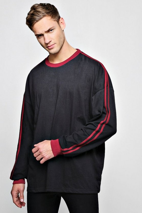 Cuffed Oversized T-Shirt With Sleeve Stripes