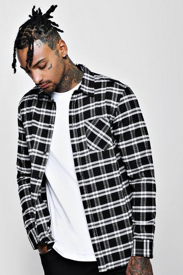 Black Long Sleeve Regular Fit Check Shirt