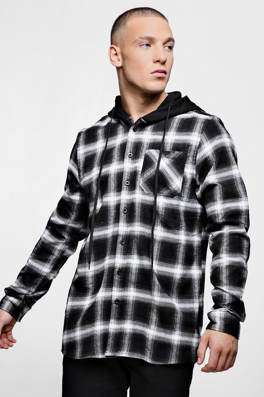 Oversized Check Shirt With Jersey Hood