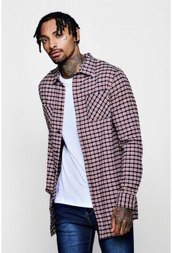 Mens Blue Longline Long Sleeve Check Shirt With Patch