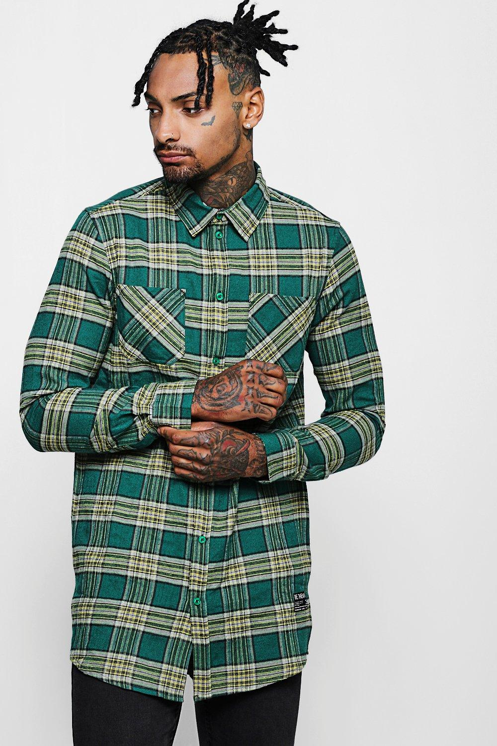 Longline Long Sleeve Check Shirt With Patch