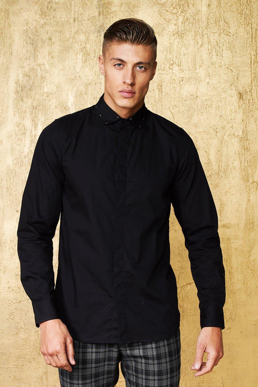 Long Sleeve Shirt With Studded Collar