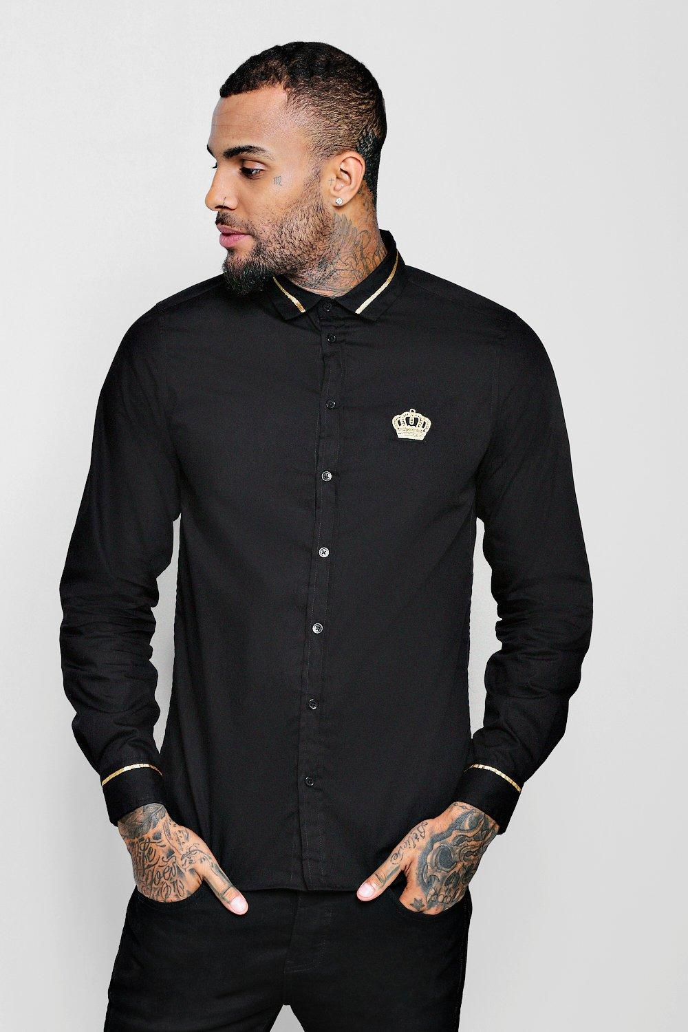 Long Sleeve Shirt With Embellished Crown Badge