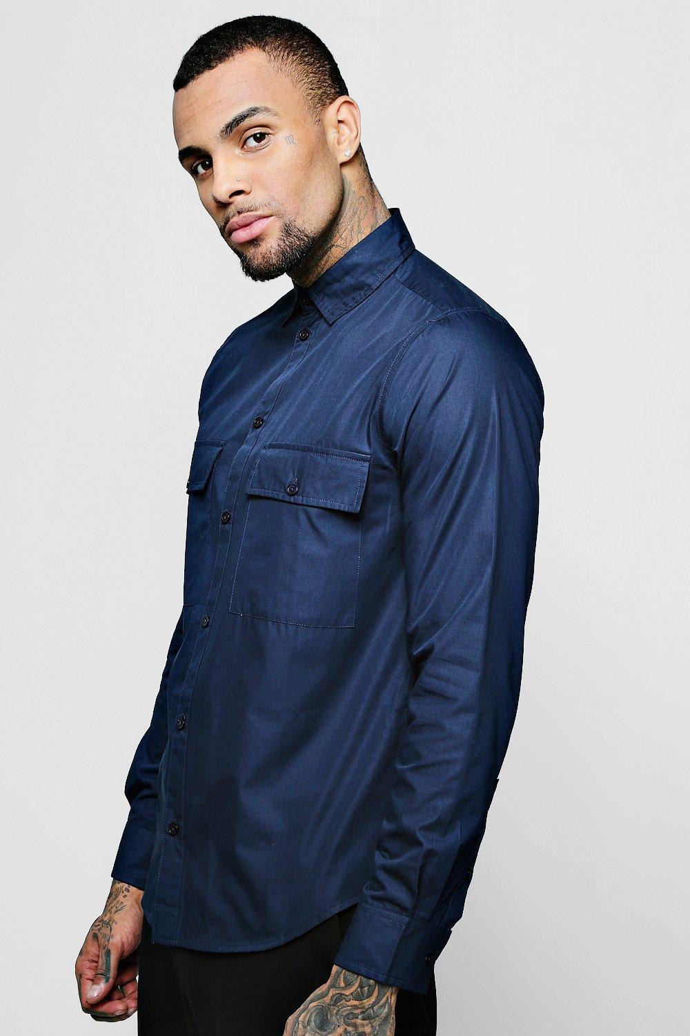 Navy Double Pocket Long Sleeve Poplin Shirt