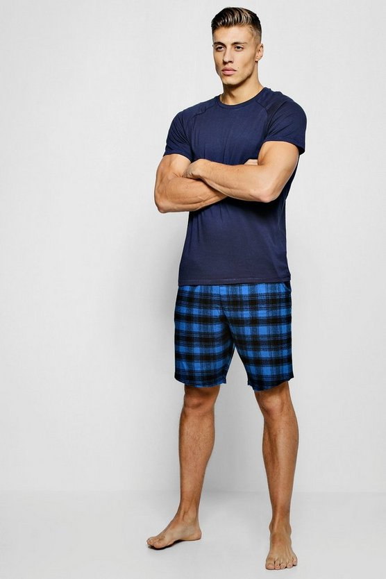 Short Sleeve Tee With Check Shirt Pyjama Set