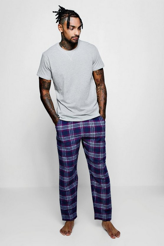 Cotton Check Short Sleeve T-Shirt Pyjama Set