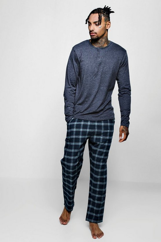 Long Sleeve Grandad Collar PJ Set With Check
