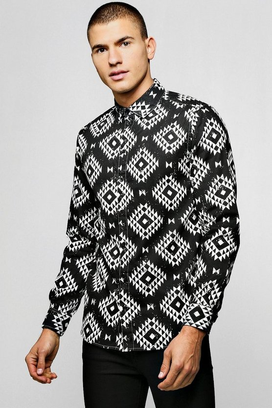Navajo Print Brushed Long Sleeve Shirt