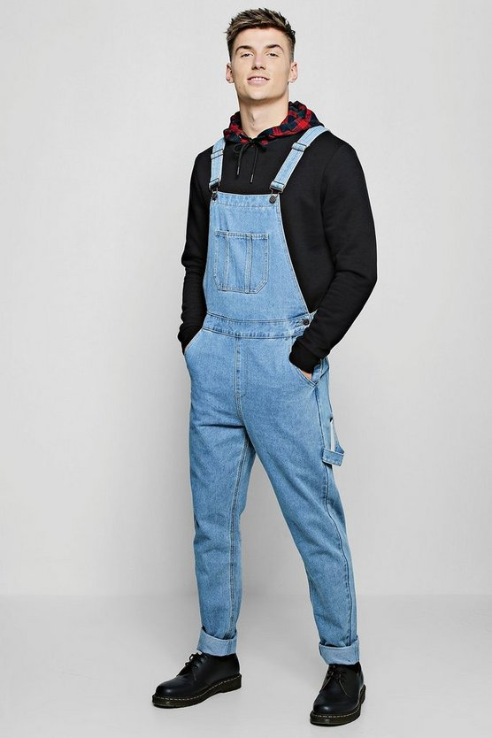 Slim Fit Rigid Denim Dungarees, Vintage wash, Мужские