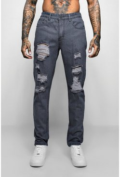 Grey Slim Fit Jeans With Extreme Rips