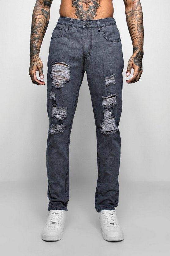 Mens Grey Slim Fit Jeans With Extreme Rips