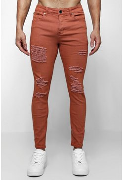 Mens Rust Skinny Fit Jeans With All Over Rips