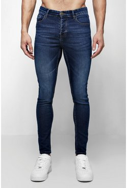 Mens Spray On Skinny Jeans In Dark Blue Wash