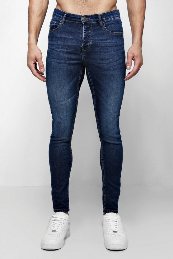 Spray On Skinny Jeans In Dark Blue Wash