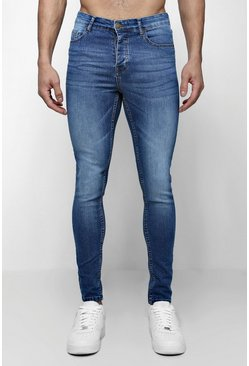 Mens Spray On Skinny Jeans In Blue Wash