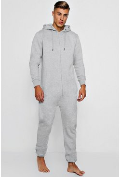 Mens Grey Zip Through Onesie