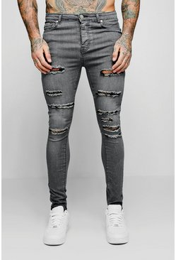 Grey Spray On Skinny Jeans With All Over Rips