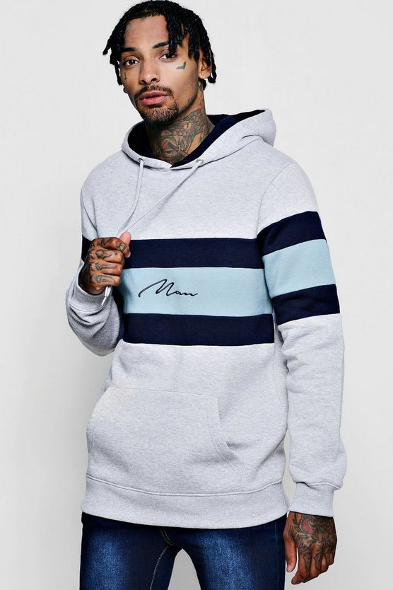 Colour Block Man Signature Panel Hoodie