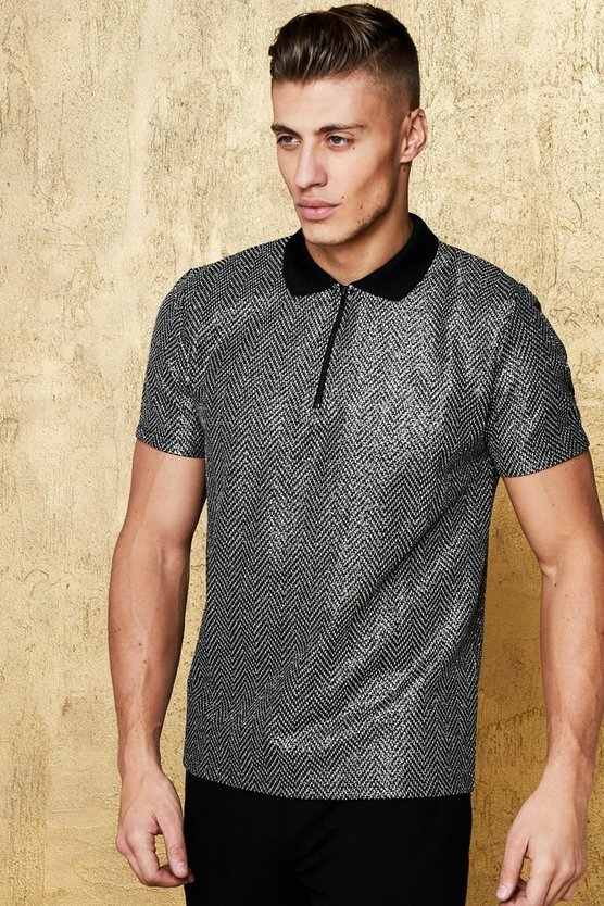 Mens Black Textured Zip Placket Party Polo